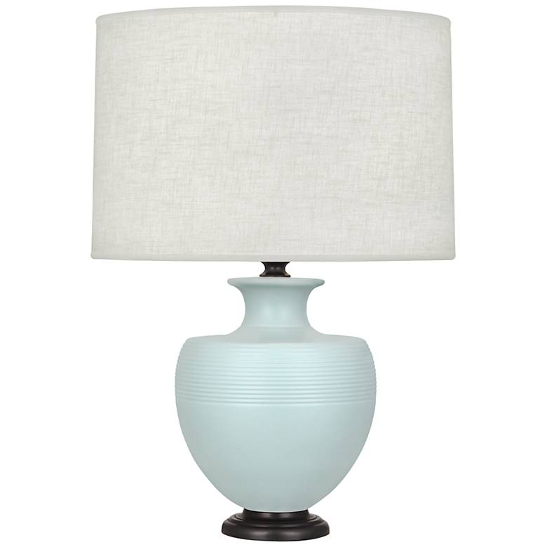 Michael Berman Atlas Bronze and Sky Blue Ceramic Table Lamp