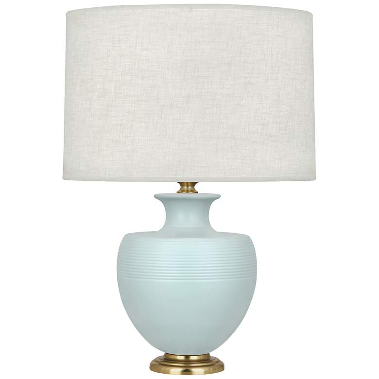 Michael Berman Atlas Brass and Sky Blue Ceramic Table Lamp