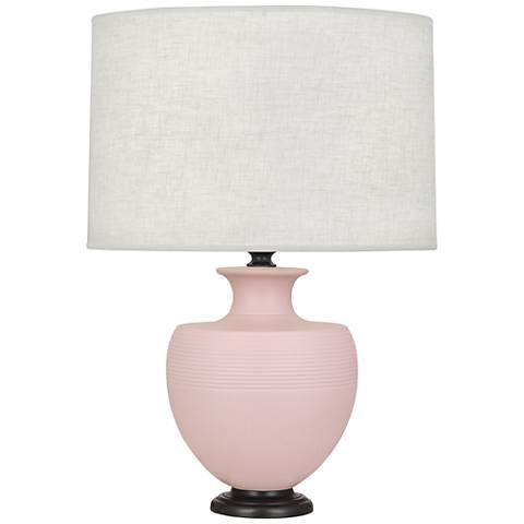 Michael Berman Atlas Bronze and Woodrose Ceramic Table Lamp