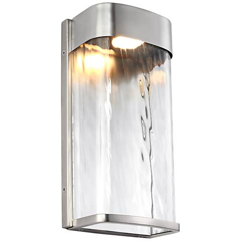 "Feiss Bennie 12"" High Brushed Steel LED Outdoor Wall Light"