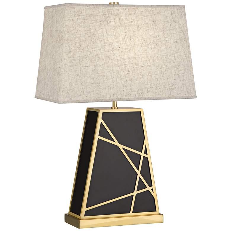 Michael Berman Bond Heather Shade Deep Patina Bronze Table Lamp
