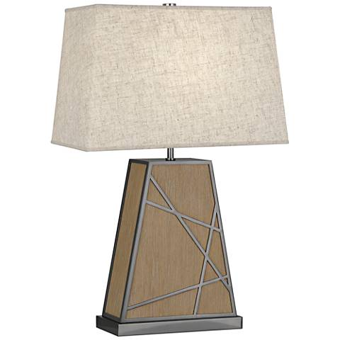 Michael Berman Bond Heather Shade Driftwood Oak Wood Table Lamp