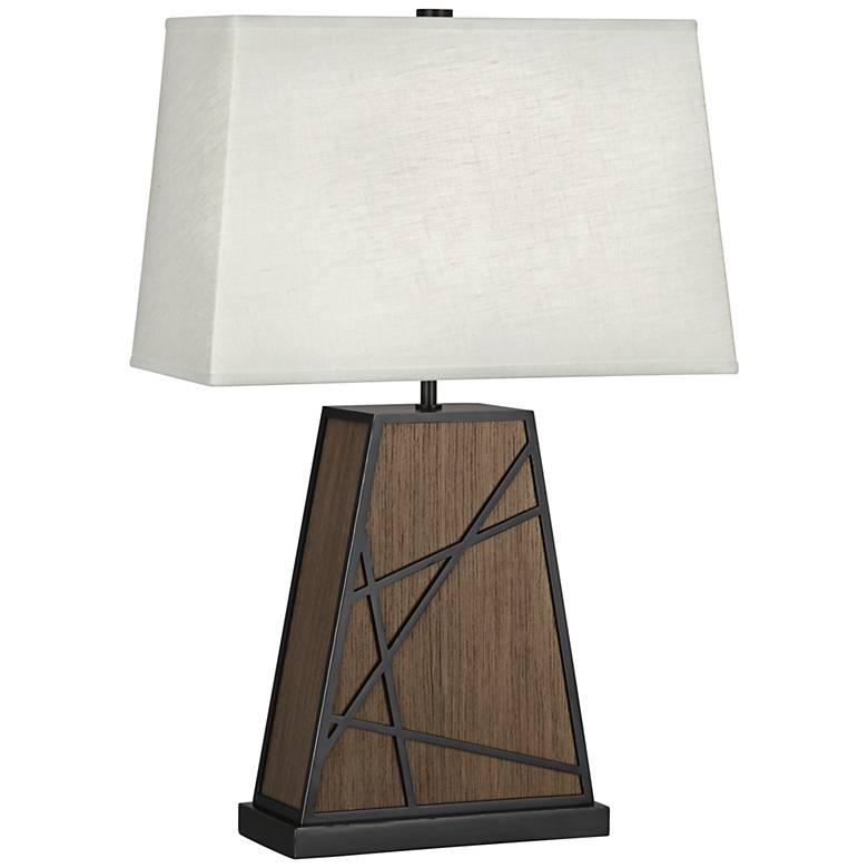 Michael Berman Bond Oyster Shade Smoked Walnut Wood Table Lamp