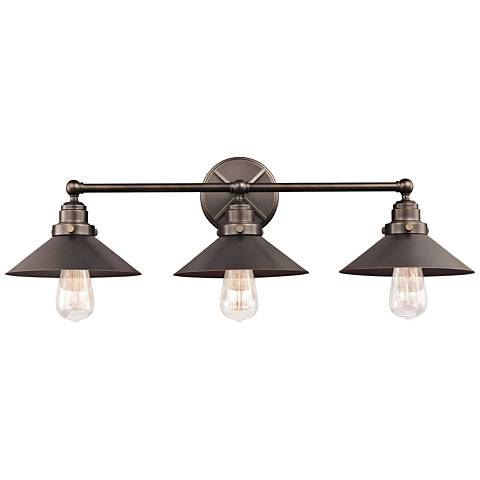 "Feiss Hooper 31 1/2"" Wide 3-Light Antique Bronze Bath Light"
