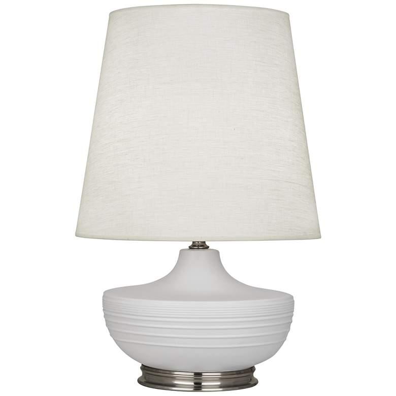 Michael Berman Nolan Nickel and Dove Gray Ceramic Table Lamp
