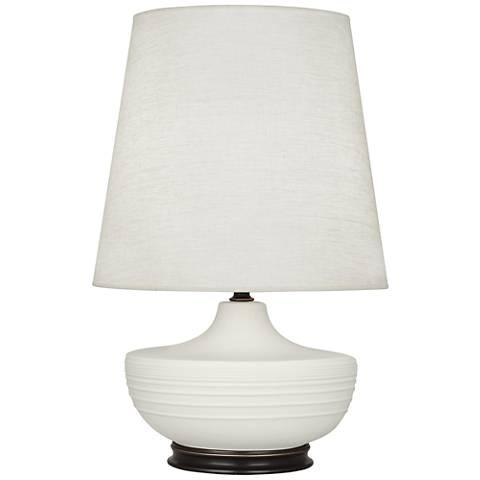 Michael Berman Nolan Bronze and Lily Ceramic Table Lamp