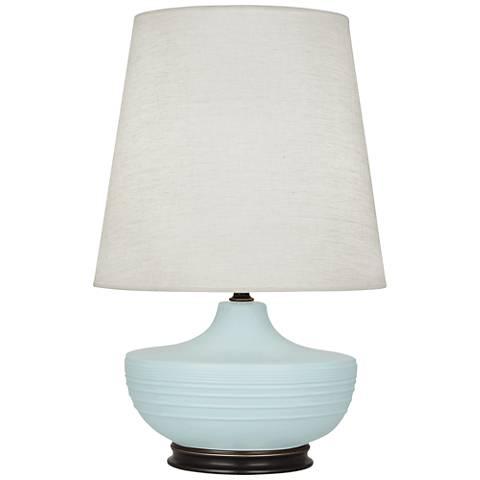 Michael Berman Nolan Bronze and Sky Blue Ceramic Table Lamp
