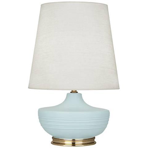 Michael Berman Nolan Brass and Sky Blue Ceramic Table Lamp