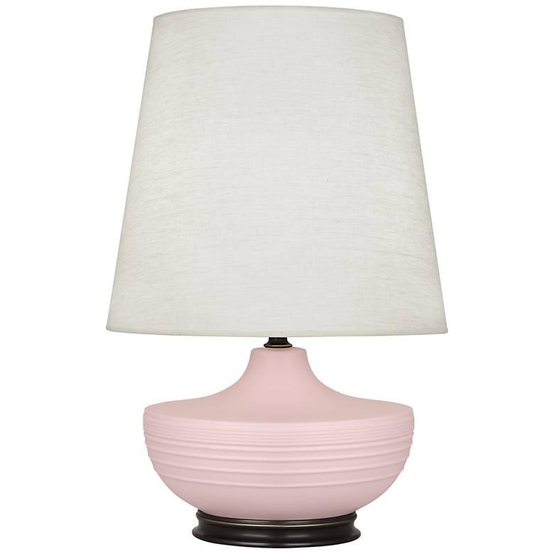 Michael Berman Nolan Bronze and Woodrose Ceramic Table Lamp