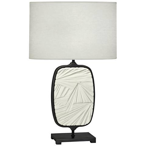 Michael Berman Flynn Bronze and Lily Ceramic Table Lamp