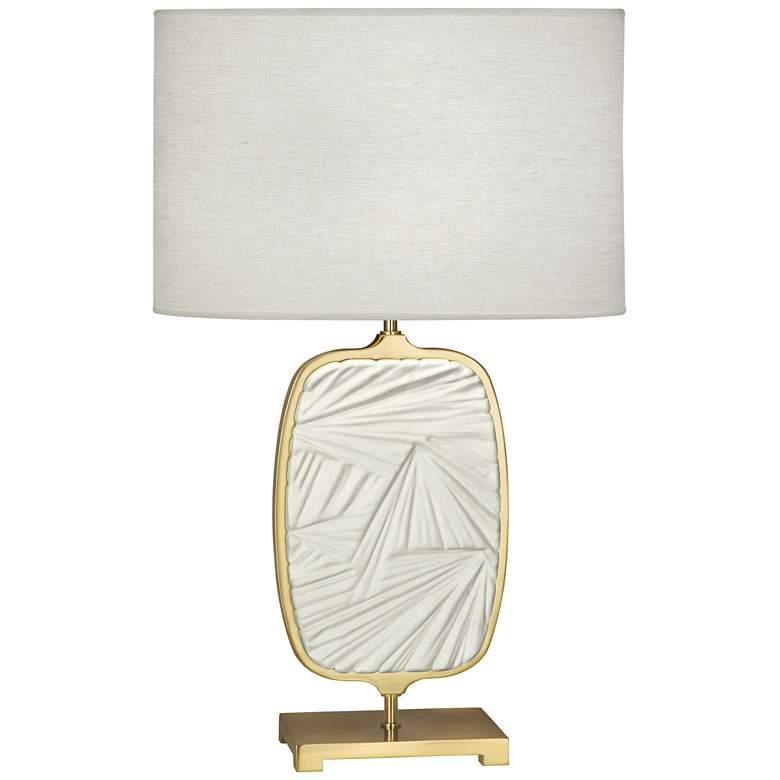 Michael Berman Flynn Brass and Lily Ceramic Table Lamp