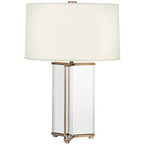 Fineas Aged Brass Crystal Table Lamp with Ascot Cream Shade