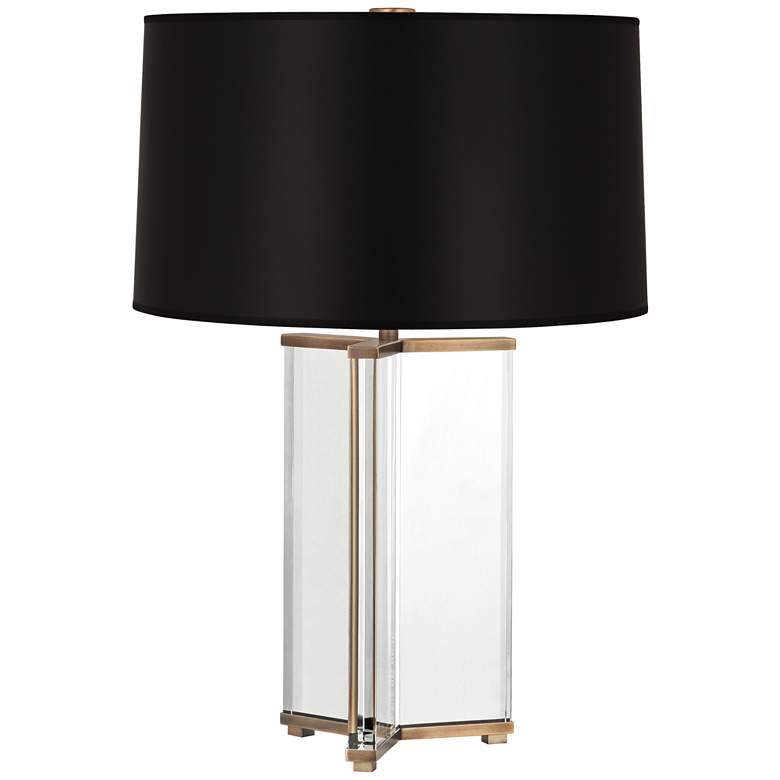 Fineas Aged Brass Crystal Table Lamp with Black Opaque Shade