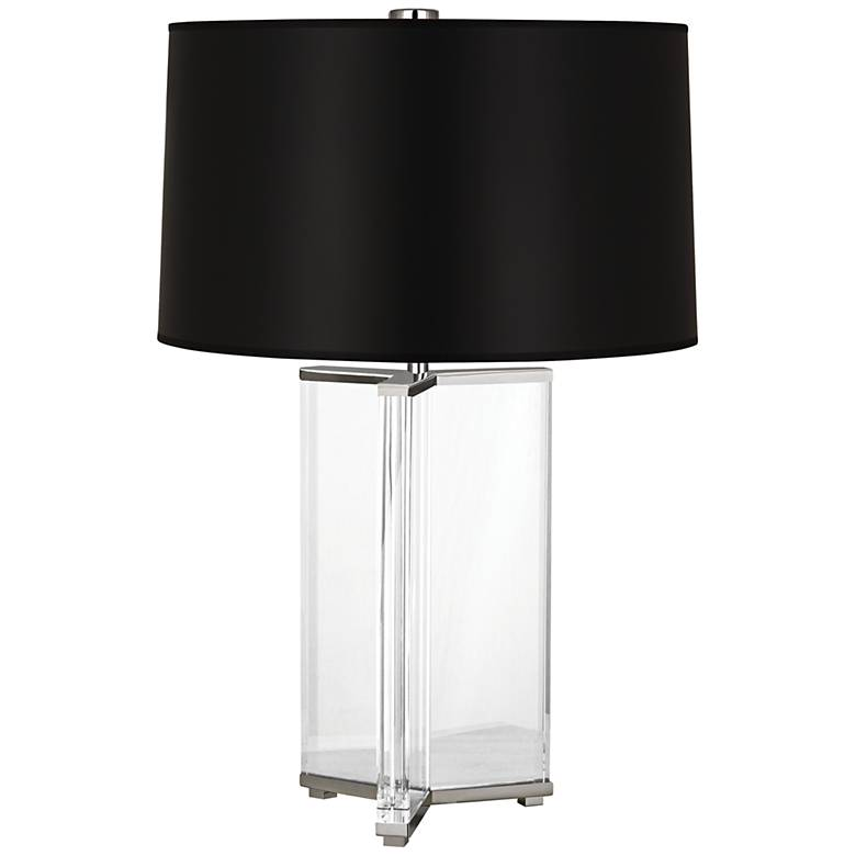 Fineas Nickel Crystal Table Lamp with Black Opaque Shade