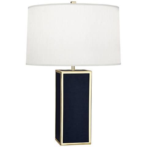 Robert Abbey Anna Rectangular Navy and Brass Table Lamp