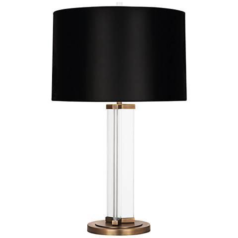 Fineas Aged Brass Glass Table Lamp with Black Opaque Shade