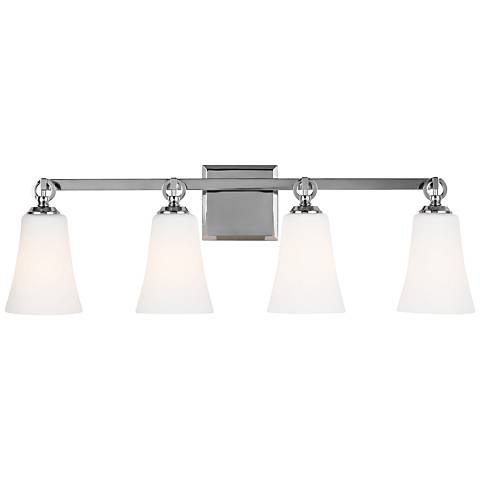 "Feiss Monterro 30 1/4"" Wide 4-Light Opal Chrome Bath Light"