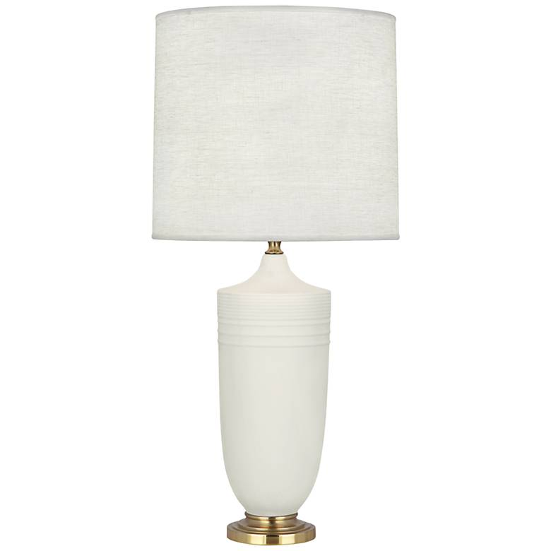 Michael Berman Hadrian Brass and Lily Ceramic Table Lamp