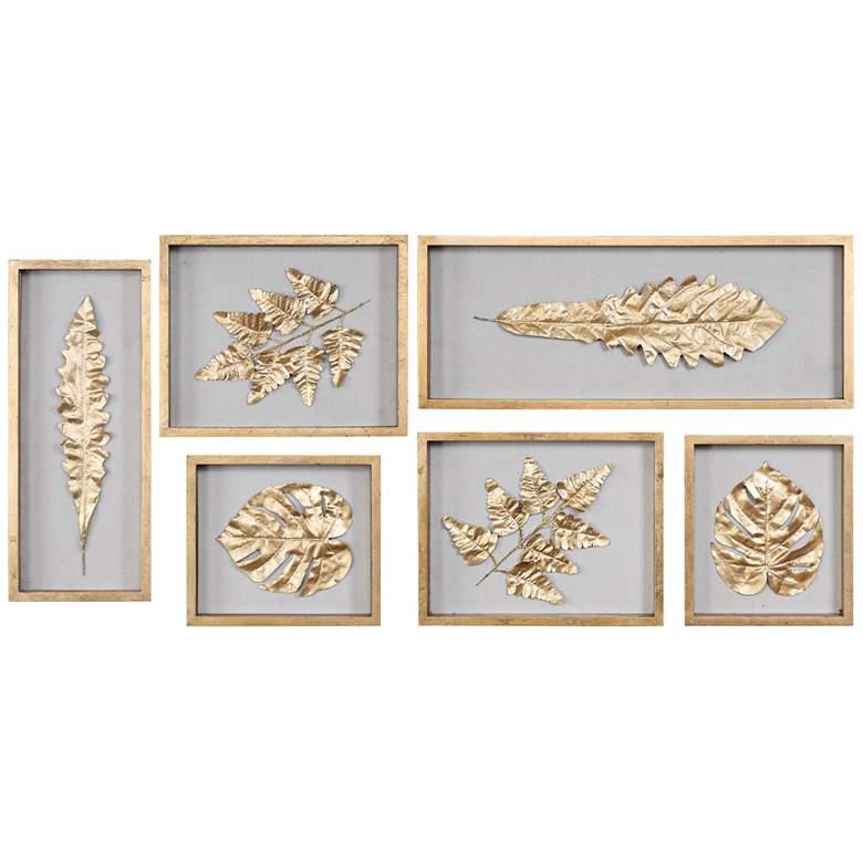 Golden Leaves 6-Piece Shadow Box Framed Wall Art Set