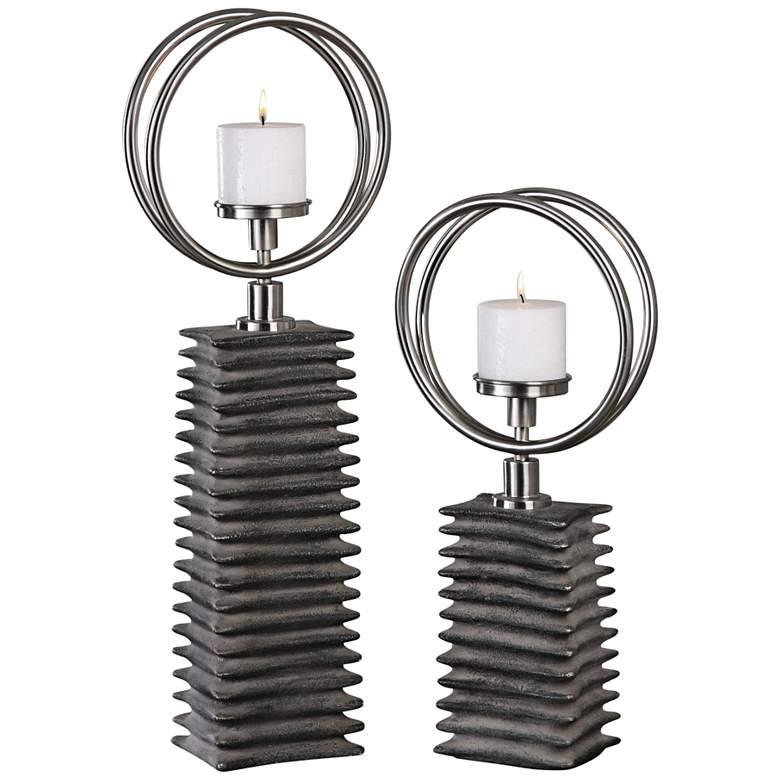 Eugenio Aged Black Ceramic 2-Piece Pillar Candle Holder Set