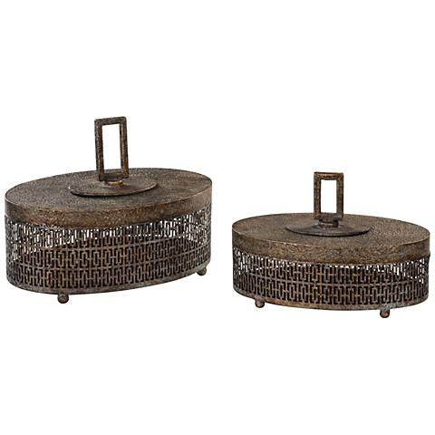 Uttermost Agnese Antiqued Gold Iron 2-Piece Oval Box Set