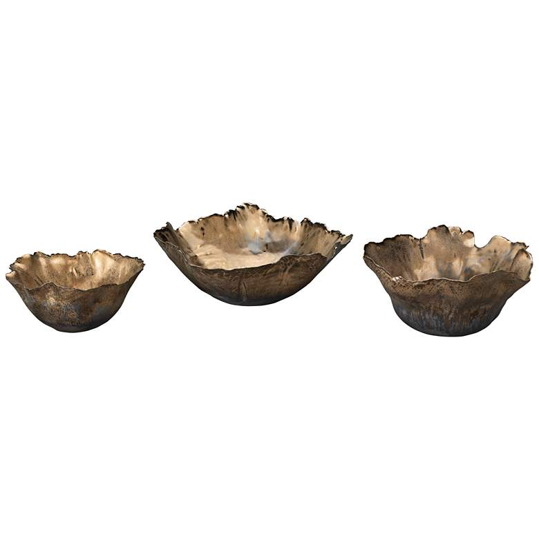 Jamie Young Fleur Antique Gold Ceramic Bowls - Set of 3