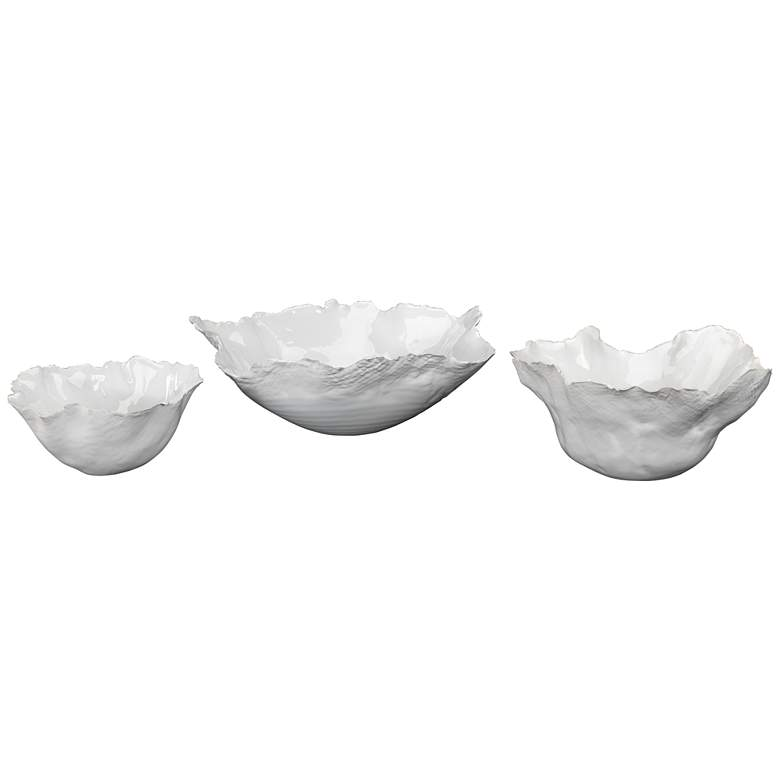 Jamie Young Fleur White Modern Ceramic Bowls - Set of 3