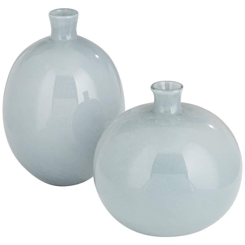 "Minx 8"" and 10"" High Modern Gray Glass Vase Set"