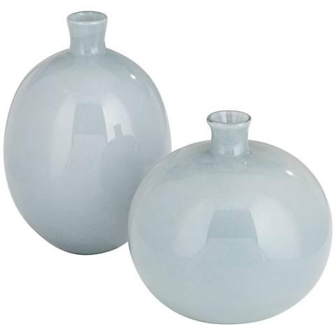 Jamie Young Minx Gray Glass 2-Piece Vase Set