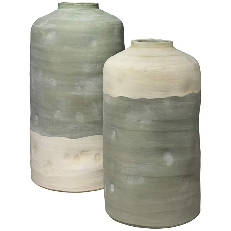 Mohave Pistachio Rustic Ceramic Vessels - Set of 2