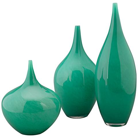 Jamie Young Nymph Emerald Green 3 Piece Glass Vase Set 19h18