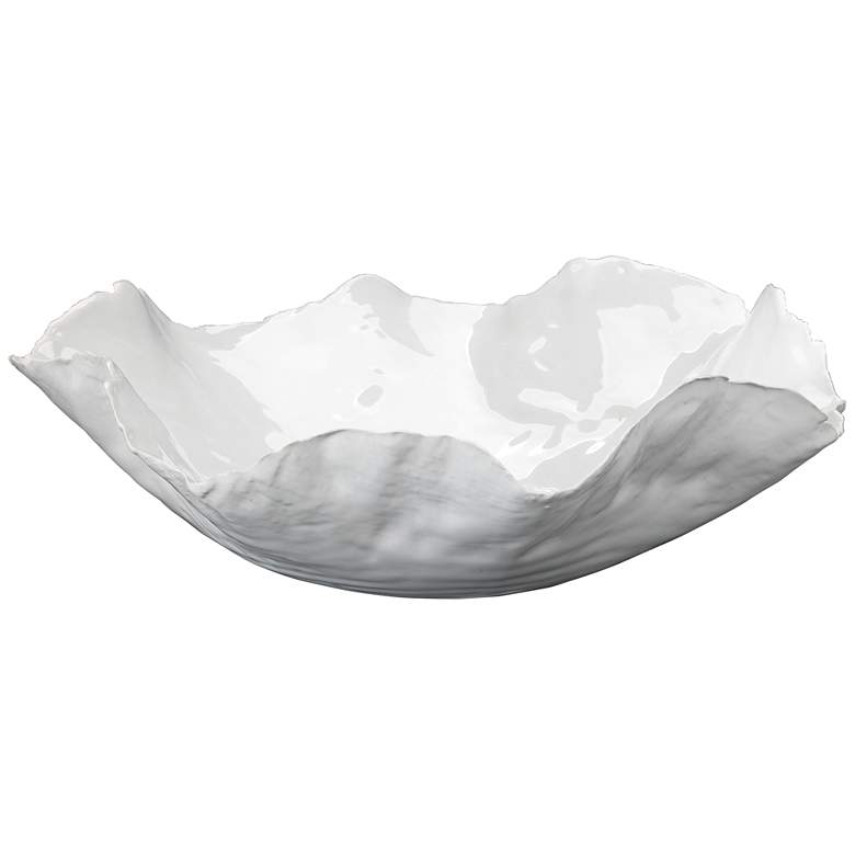 "Jamie Young 13"" Wide Peony White Modern Ceramic Bowl"