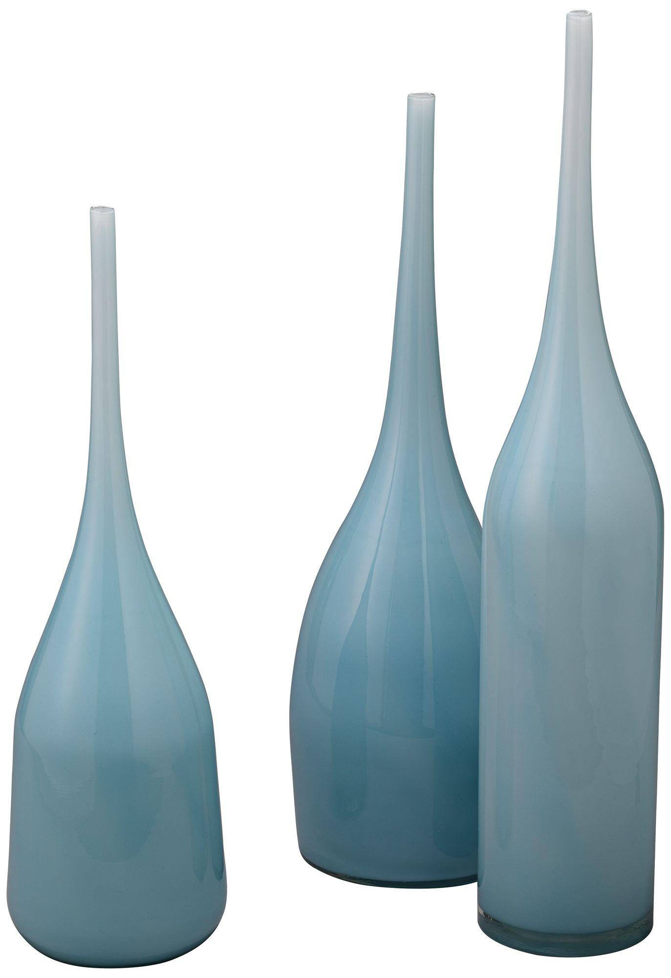 Merveilleux Jamie Young Pixie Periwinkle Blue Glass 3 Piece Vase Set