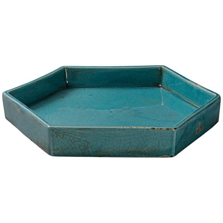 "Porto 15"" Wide Modern Rustic Blue Ceramic Tray"