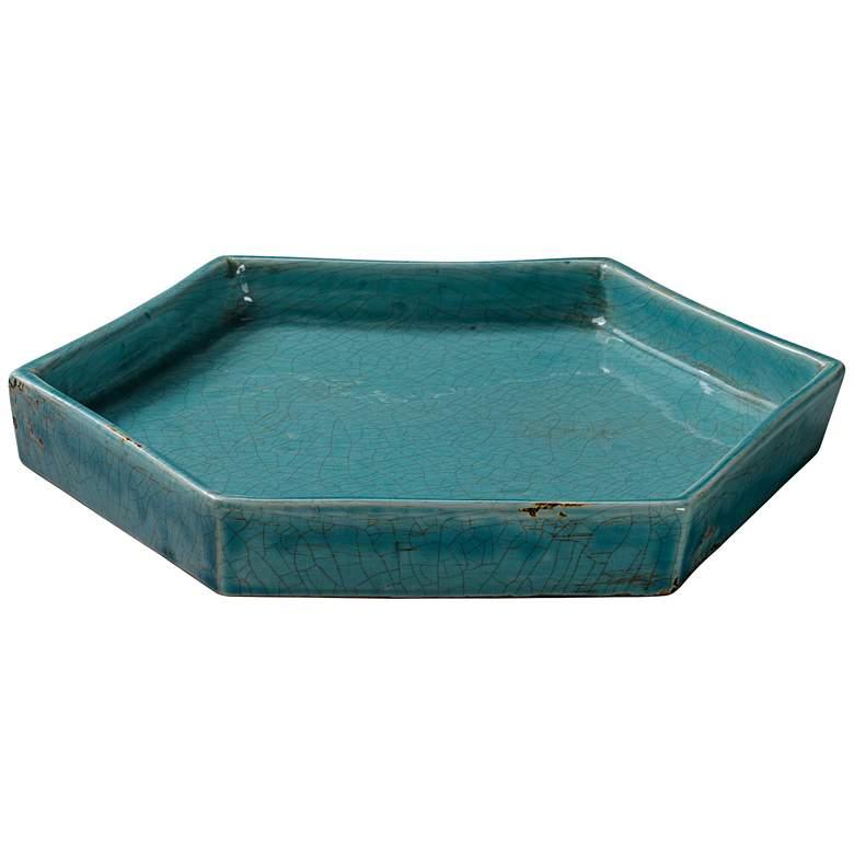 "Porto 11 1/2"" Wide Modern Rustic Blue Ceramic Tray"