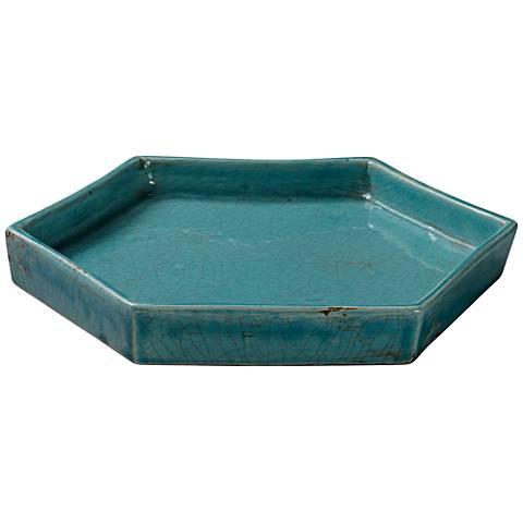 "Jamie Young 11 1/2"" Wide Porto Blue Ceramic Tray"