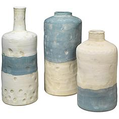 Jamie Young Sedona Blue and White Ceramic 3-Piece Vessel Set