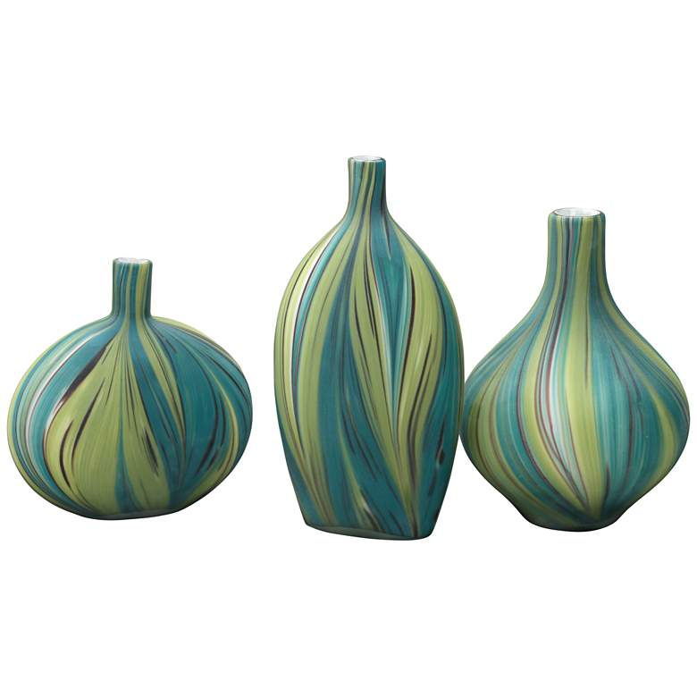 Jamie Young Stream Green and Blue Striped 3-Piece