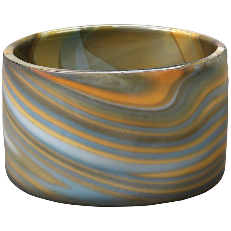 "Jamie Young Terrene Gray Swirl 7"" Wide Glass"