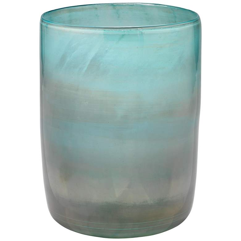 "Jamie Young Vapor Metallic Aqua 11"" High Glass Vase"