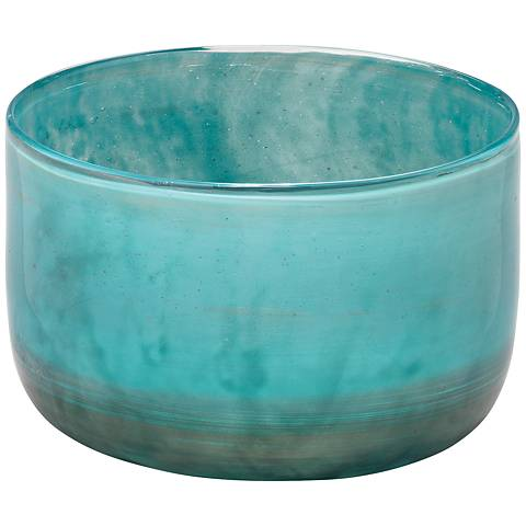 "Jamie Young Vapor Metallic Aqua 7"" Wide Glass Vase"