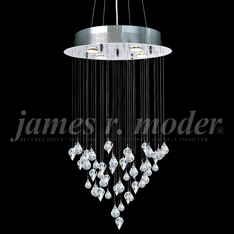 "James Moder Medallion 19"" Wide Silver 4-Light Chandelier"