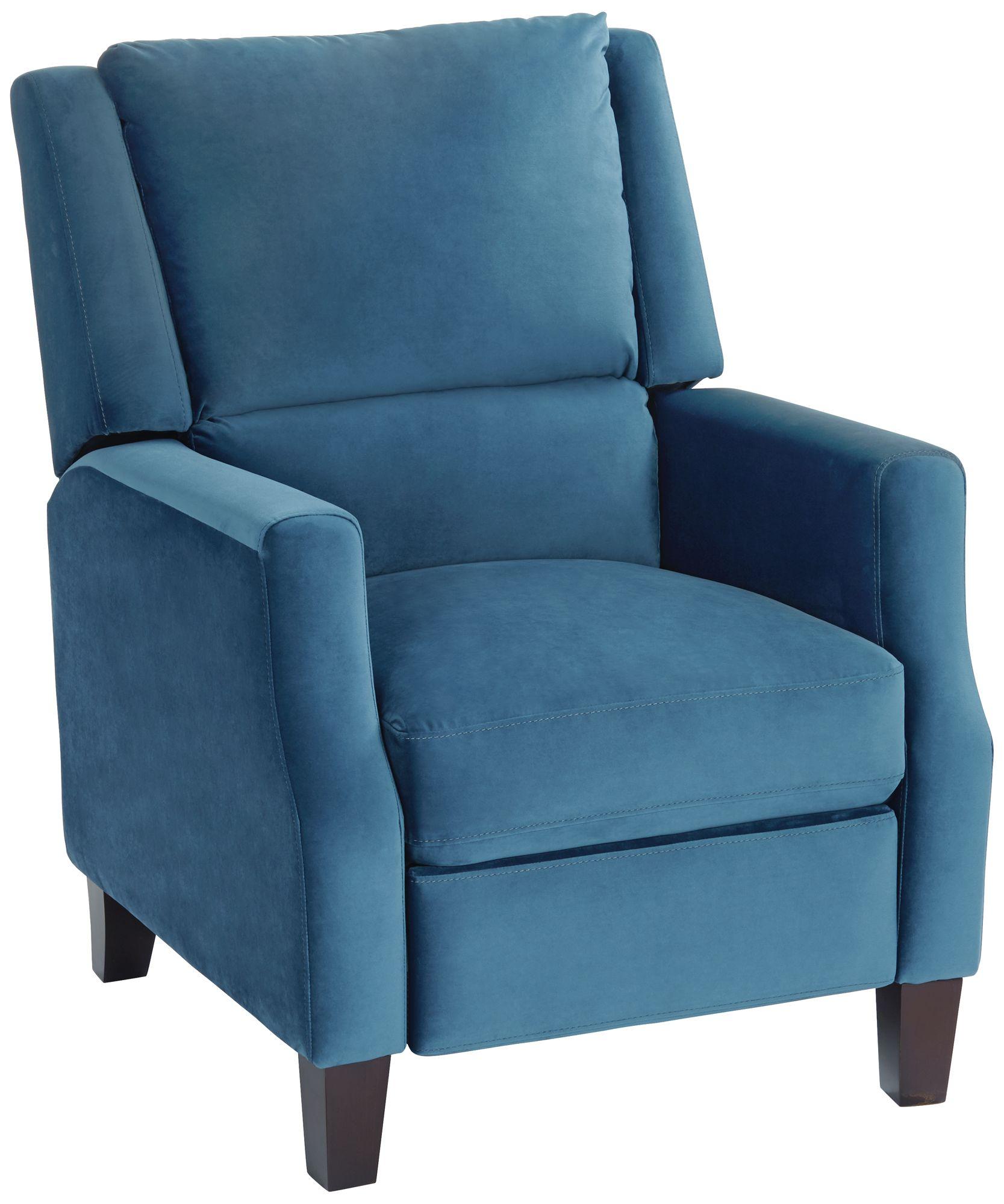Great Irina Blue Velvet Recliner Chair