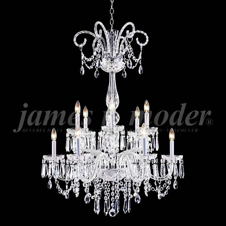 "James Moder Venetian 32"" Wide Silver 12-Light Chandelier"