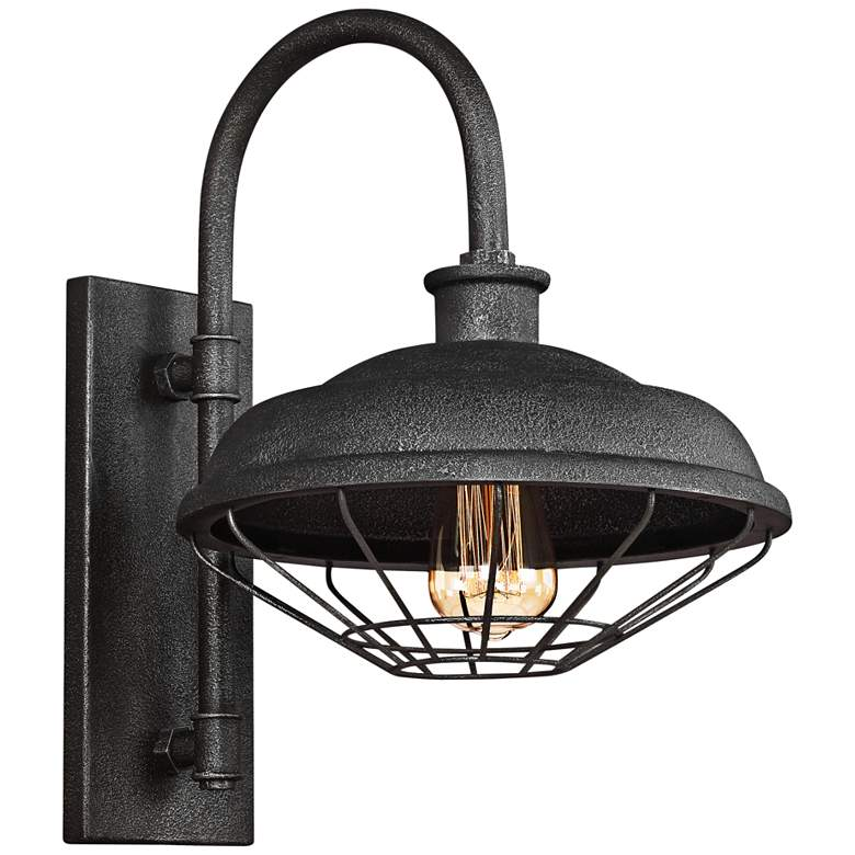 "Lennex 17 1/4""H Slated Gray Metal Indoor-Outdoor Wall Light"