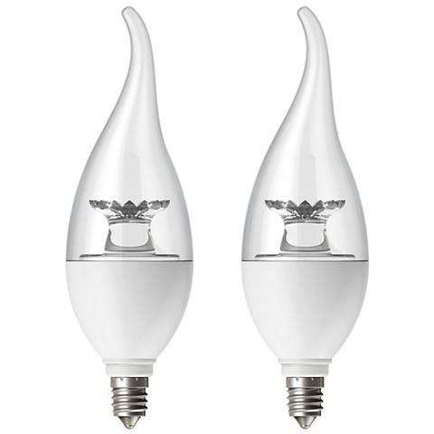 60W Equivalent Tesler Clear 6W LED Candelabra Flame 2-Pack