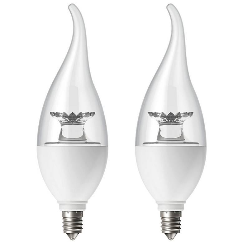 Candelabra Led 60w: 60W Equivalent Tesler Clear 6W LED Candelabra Flame 2-Pack