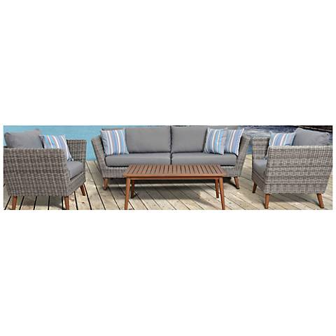 Corsica Distressed Gray Wicker 4-Piece Outdoor Patio Set