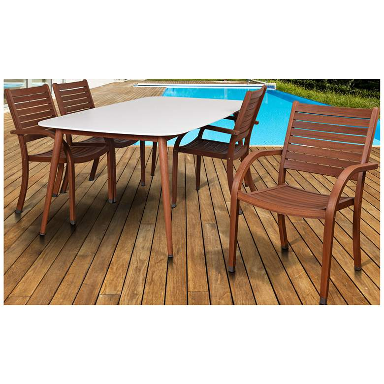 Los Altos White Rectangular 5-Piece Patio Dining Set