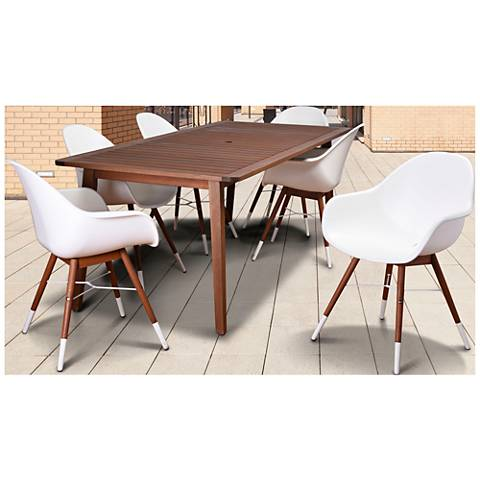 Los Altos White Shell 7-Piece Large Patio Dining Set